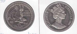 GIBRALTAR - NICKEL 1 CROWN UNC COIN 1995 YEAR KM#299 ATLANTA OLYMPIC LONG JUMPER