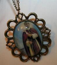 Handsome Festooned St Gerard Majella Patron of Mothers Brasstone Medal Necklace