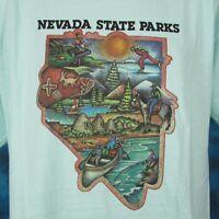 vintage 90s NEVADA STATE PARKS CARTOON T-Shirt LARGE/XL cowboy horse nature soft