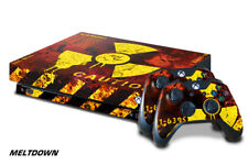 Xbox One X Console Skin with 2 Controller Decals MELTDOWN nuke toxic waste red