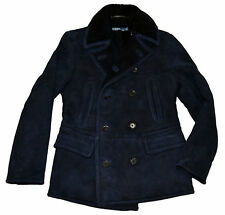 Polo Ralph Lauren Mens Shearling Suede Leather Pea Coat Jacket Navy Blue Small