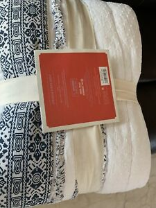 Brand New Opalhouse 100% Cotton Chenille Stripe Quilt ~ Twin XL ~ Blue White