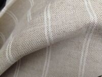 2 Metres Laura Ashley Plain Fabric Linen Stripe UPHOLSTERY CURTAINS CUSHIONS