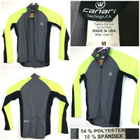 Canari Medium (39 in Chest) High-Vis Green Gray L/S Full Zip Cycling Jersey, USA
