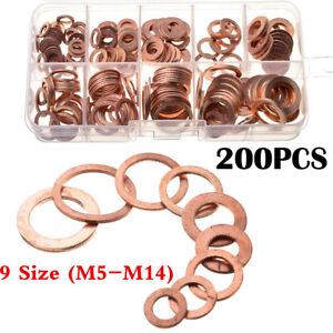 200Pcs 9 Sizes Car Engine Oil Drain Plug Copper Crush Washer Seal O-Ring Gaskets