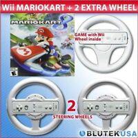 Mario Kart 8 Nintendo Wii U With Original Wheel And 2 Extra Wheels Very Good 1Z