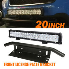 "20"" 294W CREE LED LIGHT BAR COMBO+Bull Front Bumper License Plate Mount Bracket"