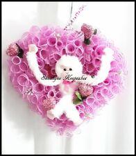 Valentine's Day Deco Mesh Heart Door Wreath, Pink Monkey Wreath {Handmade}