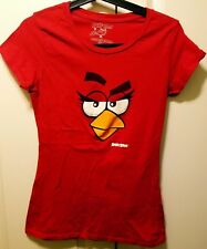 Angry Birds Face Graphic Top T-Shirt Womens Size XL Red Stretchy Mint