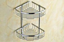 Polished Chrome 2 Tier Bathroom shelf Corner Shower Storage Basket Shelves