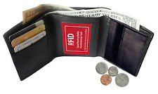 RFID SAFE MENS LEATHER CREDIT CARD HOLDER PLAIN COIN ZIP TRIFOLD WALLET ID NEW