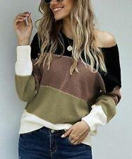 Black & Brown Color-Block Boatneck Sweater Sz S