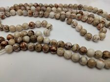 Natural Mexican Crazy Agate Beads, Round, Camel, 6mm, Hole: 1mm  Qty 10 Beads