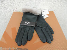 UGG CLASSIC BLACK PINE LEATHER/ SHEEPSKIN TOUCH SCREEN SMART GLOVES ~ M ~ NWT