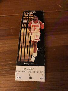 HISTORIC NJ Nets Orlando Magic 1993 Ticket Shaq RECORD 28 Rebounds 15 Blocks