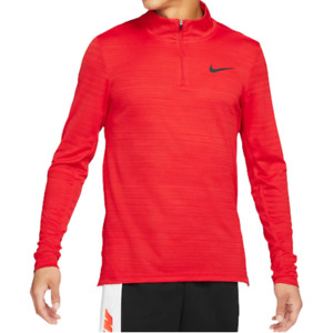 Nike Breathe Dri Fit Red 1/4 Zip Training Shirt Men Size S