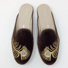 Stubbs & Wootton Embroiled Feather Brown Velvet Mule Slipper Loafers Shoes 7.5