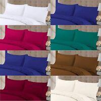 Plain Dyed Pillow cases Pairs Easycare Polycotton Fine Quality Rich Colours Soft