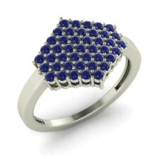 0.86 Ct Sapphire Natural Diamond Wedding Ring Round 14K Solid White Gold Size M