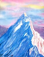 """Conquering"" ORIGINAL signed watercolor painting snow peak mountain nature scene"