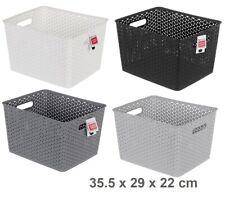 6 Rectangle Multi Purpose Plastic Storage Basket Wicker Pattern Organisation LAR