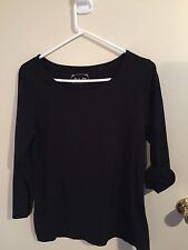 Pre-loved Ladies size 14-16 Neat Black Cotton Winter P.J Top by Love to Sleep