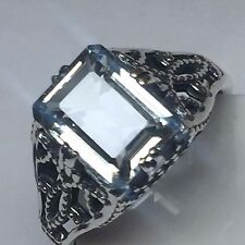 Natural AAA 2ct Aquamarine Emerald Cut 925 Solid Sterling Silver Filigree Ring 6