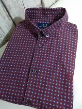 """Fred Perry Men's Shirt Size S Small 38"""" Chest Burgundy Mod"""