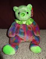 TY Beanie Baby August Bear Peridot Teddy Tags Retired 2001 Green Birthday MintTH