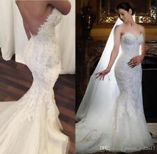 Luxury Sheath Applique Lace Wedding Dress Sexy Mermaid Backless Bridal Gown Size