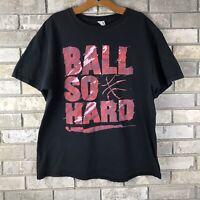 Vtg 90s Mens XL Ball So Hard T Shirt Black Hip Hop Rap Sports Nike Rare Faded OG