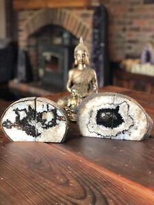 Black Agate Natural Edge Microcrystalline Quartz Premium Bookends Ornament Pair