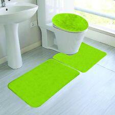 LIME COLORS BANDED BATHROOM SET BATH MAT COUNTOUR RUG LID COVER PLAIN 3PC #6