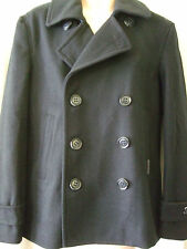 "NEW £125 SUPERDRY XXL, 44"" CHEST DARK NAVY BLUE COMMODITY SLIM WOOL PEACOAT"
