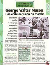George W. Mason Nash-Kelvinator Corporation American Motors AMC Car FICHE FRANCE