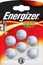 6x Energizer Lithium 3V Zelle (1x 6er Blister) CR2032 IEC C Knopfzelle ECR20326