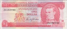 Barbados Banknote P29r-2790 1 Dollar Replacement Pfx 7 digit pinhole at top L VF