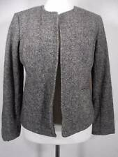 Beautiful Women's Size 8 Orvis Gray Wool Tweed Collarless Buttonless LS Jacket