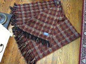 Brown/ black plaid Pendleton 100% wool throw/blanket made in USA