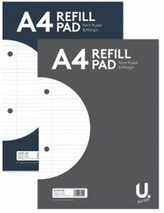 A4 160 Page Lined Ruled Paper Refill Pad Notepad Note Notebook 54gsm Sidebound