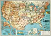 Vintage Poster Print America Wonderland A Pictorial Map Of The - Map of the us poster size