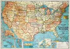 Vintage Map of the United States Parchment Poster Print size 18 x 27.5 inches