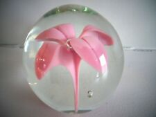 1971 Signed RH Robert Hamon LAMPWORK Pink Flower Paperweight Limited Edition