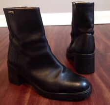 Camper Black Leather Ankle Boots Side Zip Women's Size 38 8