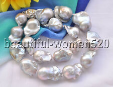 Z8706 28mm Gray BAROQUE KESHI REBORN PEARL Necklace 17inch