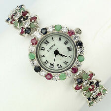 Sterling Silver 925 Round Faceted Emerald, Sapphire & Ruby Bracelet Watch 7 Inch