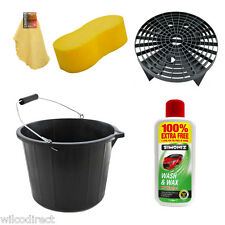 Car Cleaning Bucket Kit Grit Guard Shampoo Chamois 15L Bucket Wash Valet Set