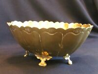"Vintage HEAVY Solid Brass Footed Oval Bowl Scalloped Edge 8"" x 6 3/4"""