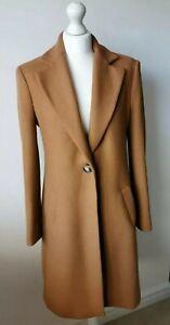 Zara Camel Wool Blend Coat Size M Medium 10 12 Italian Fabric