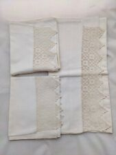 More details for pair vintage pillowcases and matching bolster case with lace trim